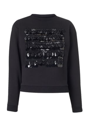 black sequin sweatshirt, £75, whistles.co.uk.