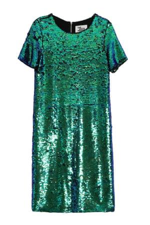 green sequin t-shirt dress