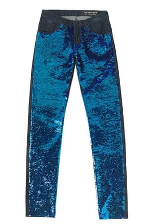 blue sequin jeans