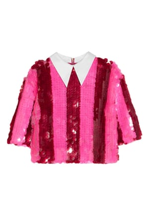 red pink sequin striped cropped top with white collar