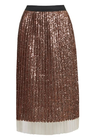 brown pleated midi skirt with sequins