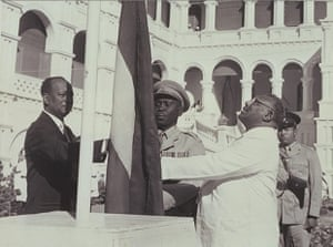 1956 Sudan gains independence from British and Egyptian rule, forming one united country despite a civil war between north and south that began in 1955 and continues for 17 years Sudan's flag raised at the independence ceremony on 1 January 1956 by the Prime Minister Isma'il Alazhari, in the presence of opposition leader Mohamed Ahmed Almahjoub
