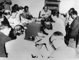 1958 The military overthrows the government in a bloodless coup, and promises reforms that fail to materialise. Military chief General Ibrahim Abboud rules  until a popular uprising in 1964. The new government being sworn in Khartoum