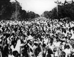 1965 A coalition government is formed but fails to bring stability. A succession of revolutions and unstable governments in this period are unable to unite the country, and the fighting between north and south continues.  Demonstrations in Khartoum
