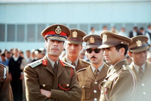 Middle East, 1969, Libyan leader Colonel Khadafy  is during a trip to the Sudan