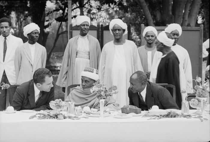 American politician US Vice President sits with Muslim leader Sayed Ali el Mirghani and Sudanese Prime Minister Abdullah Khalil at a state function, Sudan, March 1957.