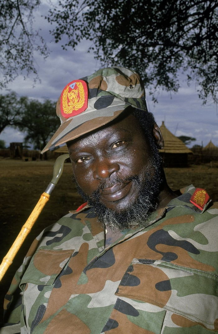1983 The Addis Ababa agreement officially breaks down and the second civil war begins, pitting government forces against the Sudan People's Liberation Movement led by John Garang. The civil war forces more than 4 million southerners to flee, with many forced out the country to Ethiopia, Kenya, Uganda, Egypt or other neighbouring countries Colonel John Garang, leader of the Sudanese Peoples Liberation Army (SPLA) poses for a portrait at a rebel encampment April 1992 near Kapoeta, Sudan