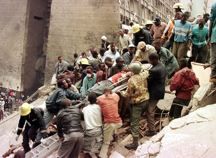 1998: After the US embassies in Kenya and Tanzania are bombed, America accuses Sudan of making chemical weapons for terrorist groups and launches a missile attack on a pharmaceutical factory outside Khartoum. The US embassy in Nairobi, bombed on August 7, 1998 killed at least 60 people, including eight Americans, and left more than 1,000 injured