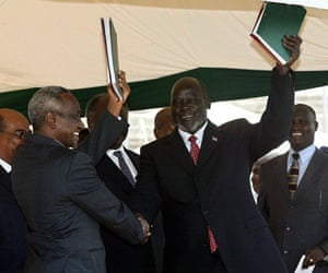 2005 The second civil war finally ends, with both sides signing a peace agreement that promises a referendum on independence for South Sudan in six years. The deal calls for a permanent ceasefire and sharing of oil revenues. Islamic law remains in effect in the north, while its use in the south is decided regionally. Sudanese Vice President Ali Osman Taha (L) and the country's main rebel leader John Garang shake hands after signing the long awaited peace accord 08 January 2005 in Nairobi