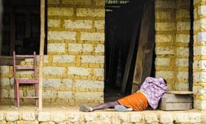 Man suffering from the Ebola virus in Sierra Leone