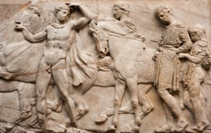 Men and their horses depicted on north frieze of the Parthenon sculptures
