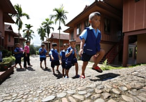Children head out of lessons for a mid-morning snack during break-time