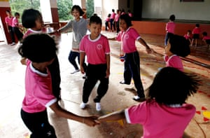 Children play at the school