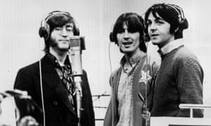The Beatles in a recording studio.