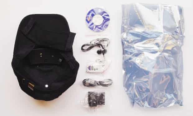 Baseball cap with hidden video camera, bought from a darknet market by a bot