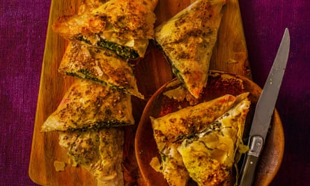 Phyllo Pastries with Mustard Greens and Za   atar