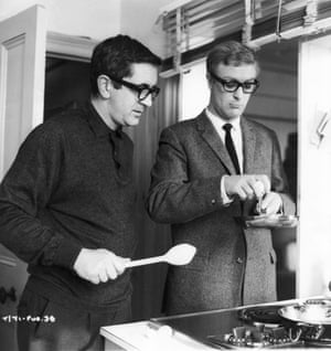 Len Deighton, left, and Michael Caine  on the set of The Ipcress File, 1965.