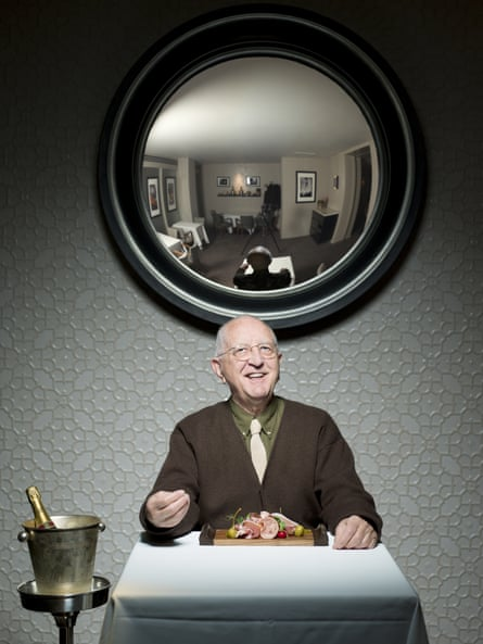'Man-friendly cooking': Len Deighton at a favourite London restaurant, Koffmann's in Knightsbridge.