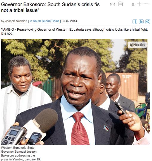 Governor Bakosoro: South Sudan's crisis