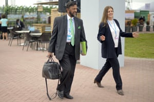 2007 Nobel Peace Prize laureate Rajendra Kumar Pachauri (L) arrives at the UN COP20 and CMP10 venue in Lima, on December 1, 2014. The UN 20th session of the Conference of the Parties on Climate Change and the 10th session of the Conference of the Parties serving as the Meeting of the Parties to the Kyoto Protocol is being held from December 1st to 12th in Lima.
