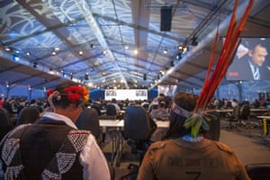 Indigenous participants sit in a plenary hall of COP20. The UN climate talks began on Dec 1st in Lima Peru, billed as the most important meeting in the history of the world, mechanisms for reducing climate change are being negotiated. The Fast for the Climate movement, with participation of environmental and faith-based groups such as the Lutheran World Federation, is reminding diplomats of the real dangers of climate change and urging them to take immediate action.