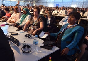 Country representatives listen to the  opening remarks by UNFCCC Executive Secretary Christiana Figueres during the Opening Ceremony of the UN COP20 and CMP10 conference in Lima, on December 01, 2014. The UN 20th session of the Conference of the Parties on Climate Change and the 10th session of the Conference of the Parties serving as the Meeting of the Parties to the Kyoto Protocol is being held from December 1st to 12th in Lima.