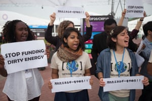 A demonstration inside the UN climate talks COP20 against the financing of coal-fired power stations in Japan.