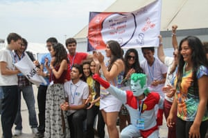 """With """"intergenerational equity"""" as the theme of the day, youth demonstrate an action entitled """"The Planet Cannot Wait,"""" with a guest appearance by Captain Planet, 4 December 2014"""