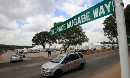 A motorist drives down a street in Harare named after the first lady.