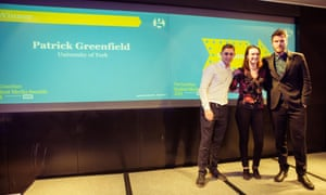 Patrick Greenfield, winner of Student Reporter of the Year was unable to attend and Jacinta Bloomfield accepted the trophy on his behalf