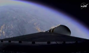 The view from the Orion spacecraft as it climbs to orbit.