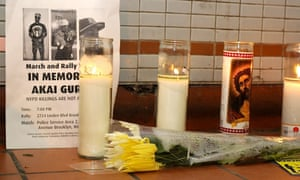 Makeshift memorial to Akai Gurley at the Louis Pink Houses in Brooklyn, New York. Gurley was mistakenly killed in the apartment complex by a police rookie.