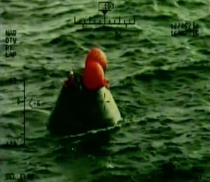 In this frame grab from NASA-TV, the Orion capsule floats after splashing down in the Pacific Ocean