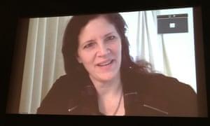 Laura Poitras speaking at the Logan Symposium.