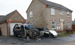 Arson attacks in Long Ashton last month destroyed five cars.