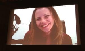 Sarah Harrison Skypeing in to the Logan Symposium.