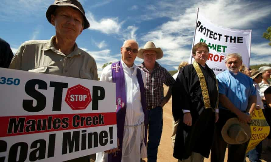 Religious leaders protest at the entrance to a coal mine at Maules Creek in New South Wales, Australia. Pictured left to right, Rev Rex Graham, Fr Ron Perrett, farmer Rick Laird, Shaku Jo'on Greeg Heathcote and Rev John Brentnall