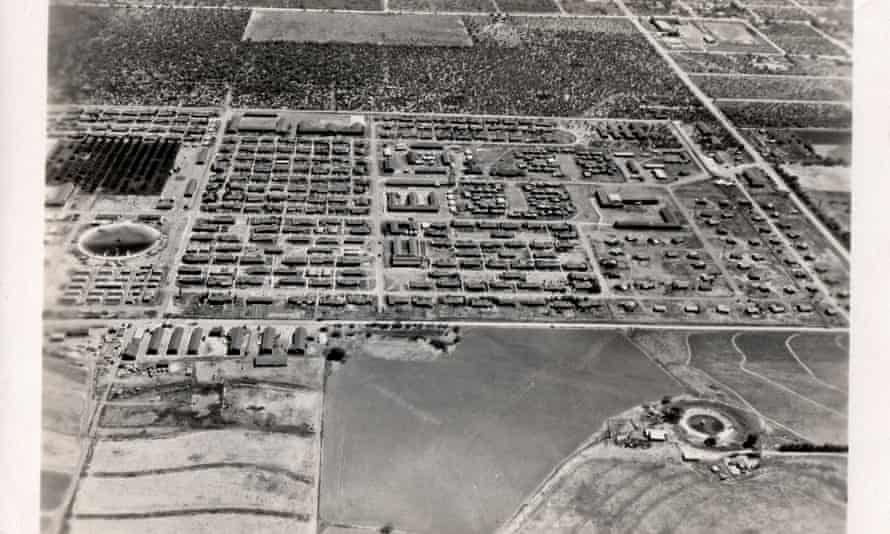 Aerial view of Crystal City (Family) Internment Camp during second world war.