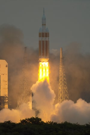 Nasa's Orion spacecraft lifts off from Cape Canaveral.