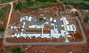 An aerial view of the Kerry Town Ebola treatment centre on the outskirts of Freetown, Sierra Leone.