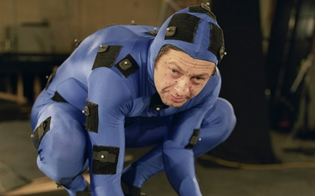 Andy Serkis in a motion capture suit.