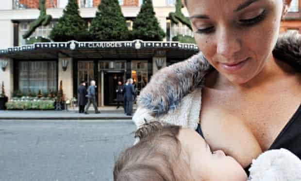 Breastfeeding protest outside Claridge's hotel in Mayfair, London