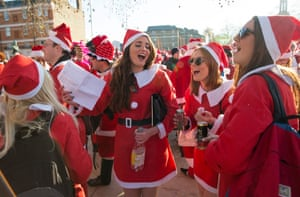 A singalong during the annual SantaCon event in London