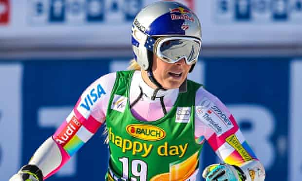 Lindsey Vonn of the United States finishes her run during the women's super G at Lake Louise