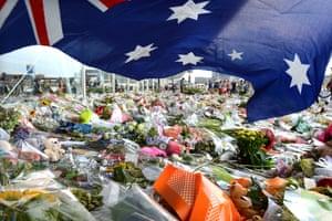 An Australian flag blows