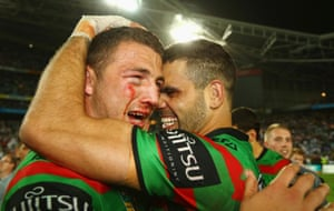 Sam Burgess and Greg Inglis of the Rabbitohs celebrate victory during the 2014 NRL Grand Final match between the South Sydney Rabbitohs and the Canterbury Bulldogs at ANZ Stadium