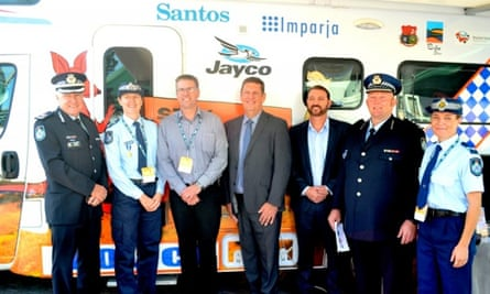 The launch of the Stay on Track Outback campaign with sponsors from Santos, Isuzu and Jayco