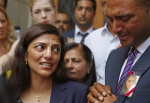 Ami Denborg, left, and her brother Anish Hindocha, right, after the court case that acquitted their sister's former husband Shrien Dewani.