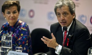 Peru's Minister of Environment Manuel Pulgar Vidal (R) speaks next to UNFCCC Executive Secretary Christina Figueres(L) during a press conference at the COP20 in Lima on December 01, 2014.