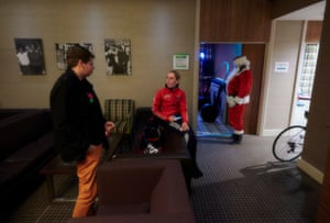 The team hotel is not only hoisting professional cyclists, but also those enjoying a Christmas party. A surreal moment for all involved.